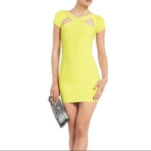 BCBG chartreuse bodycon dress
